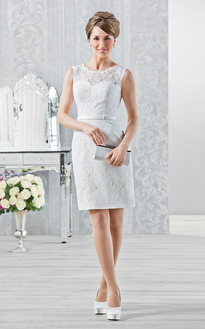 kurze brautkleider 2016 elegante linie weiße spitze hochgesteckte frisur hochzeitskleid romantik brautgalerie