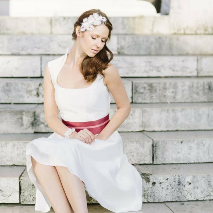 kurze brautkleider 2016 lilo hochzeitskleid stehkragen bindegürtel rose noni mode.de
