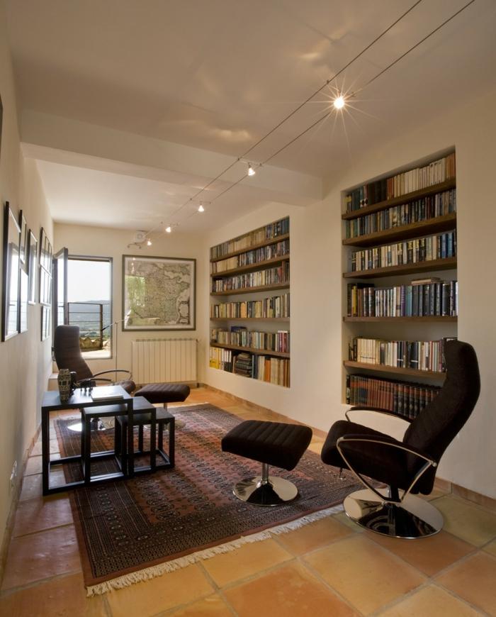 lampen und leuchten bibliothek teppich helle wände