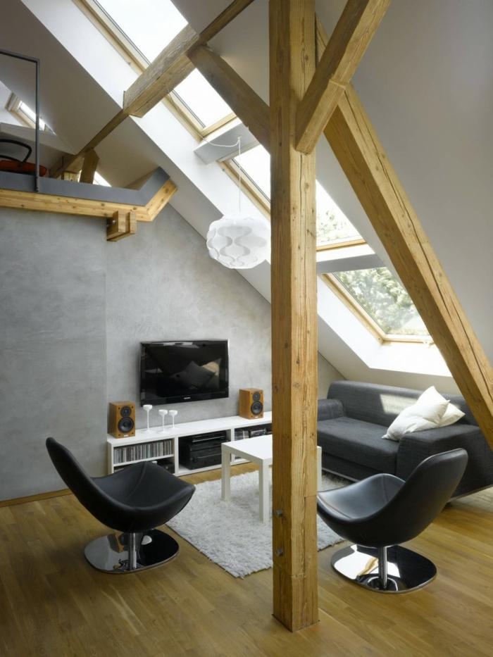 lampen und leuchten wohnzimmer dachschräge weißer teppich graue wände