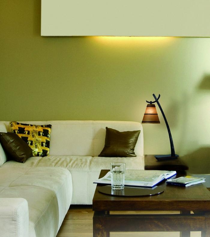 lampen und leuchten wohnzimmer leselampe grüne wände