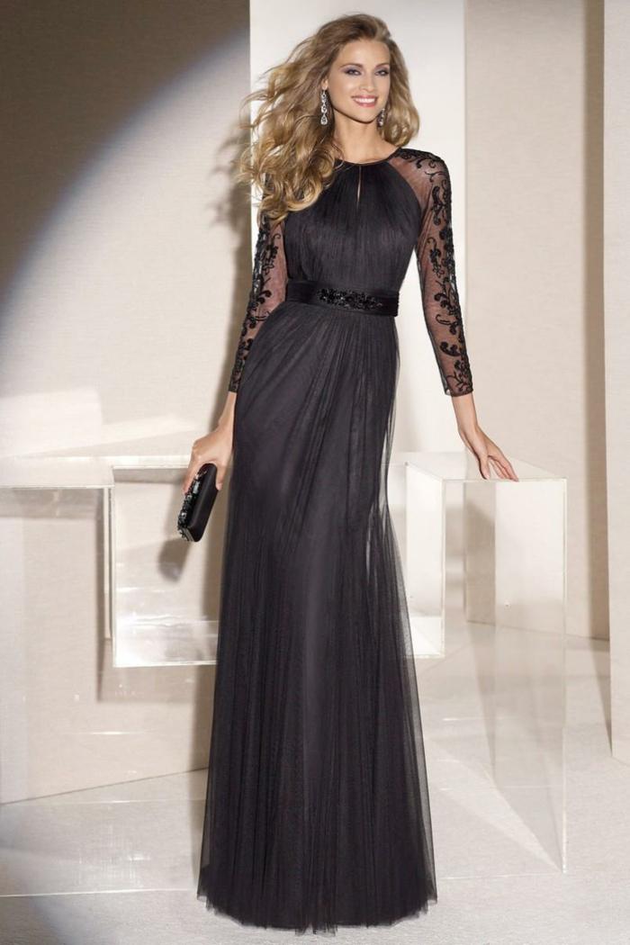 lange kleider cocktail kleid schwarz tüll spitze abendkleid modetendenz 2016