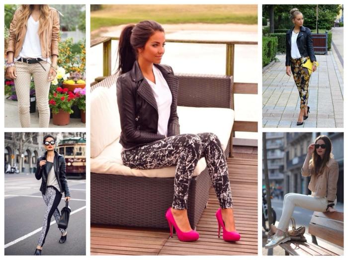 lederjacken moderne designs 2016 casual urban stil enge hosen jeans