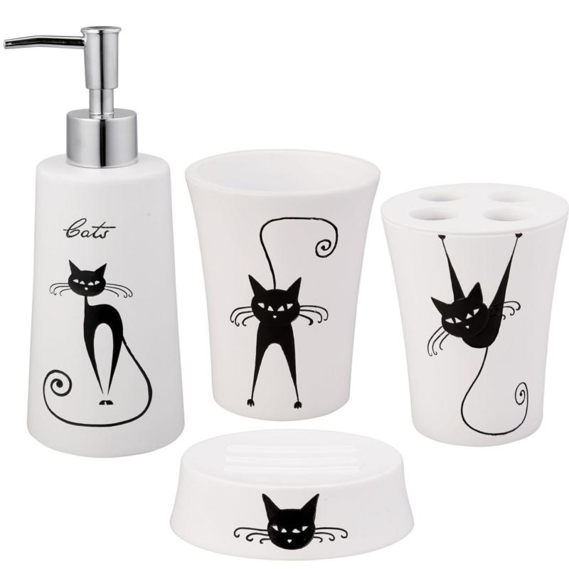 lustige Badaccessoires Katzenmuster Badezimmer einrichten Badzubehör