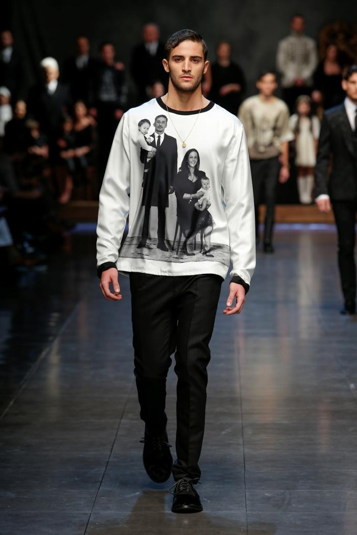 männermode trends 2016 elegante hosen schwarz fotoprints pullover t-shirt herrenmode tendenzen