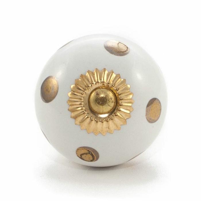 möbelknöpfe porzellan schubladengriffe möbelgriffe keramik weiß gold vintage design