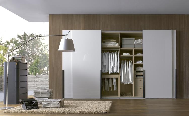 moderne Garderoben Kleiderschrank mit Schiebetüren weiß