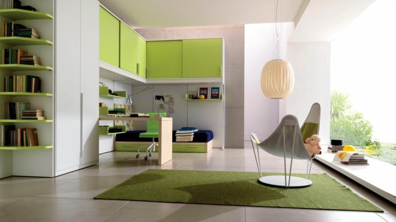 moderne Jugendzimmer Ideen Jugendzimmermöbel grün