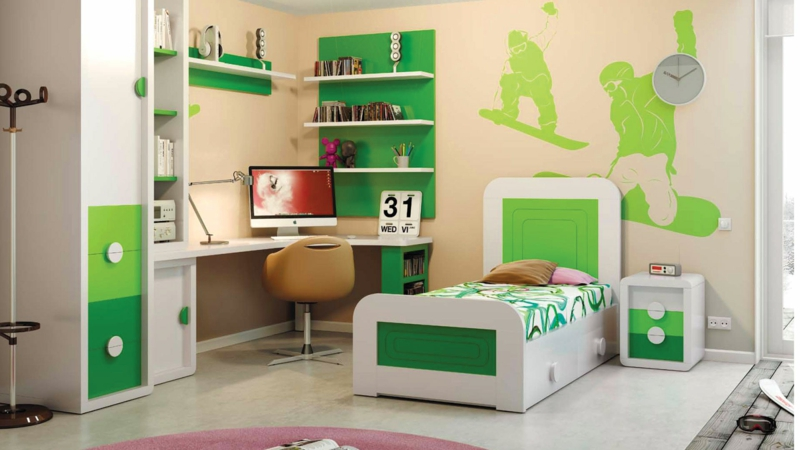 moderne Jugendzimmer Ideen Jugendzimmermöbel leuchtendes grün