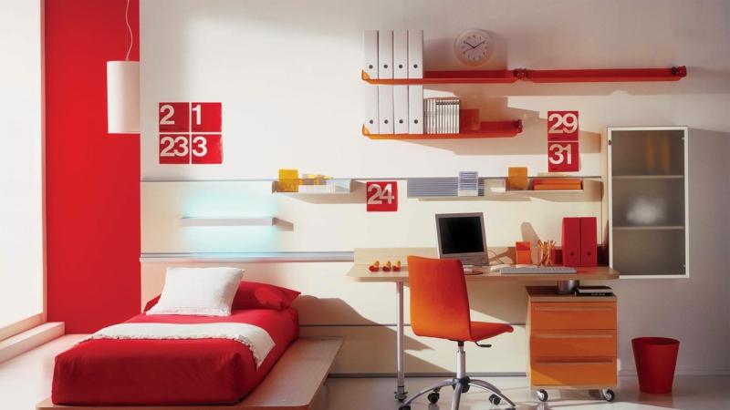 moderne Jugendzimmer Ideen Jugendzimmermöbel rot orange