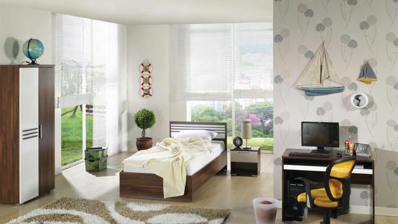 moderne Jugendzimmer gestalten Tapetenmuster Ideen Jugendzimmermöbel