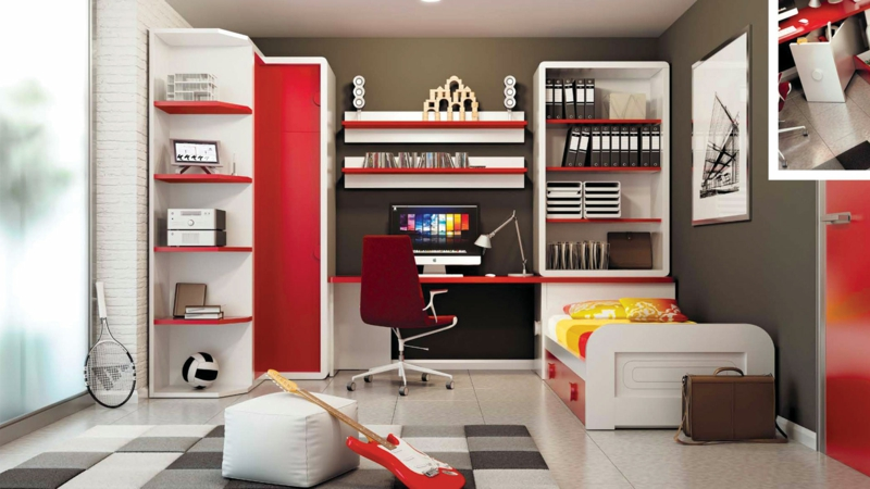 moderne Jugendzimmer gestalten rot Ideen Jugendzimmermöbel