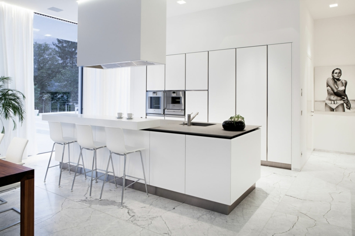 moderne bodenbeläge betonoptik küche kücheninsel abzugshaube
