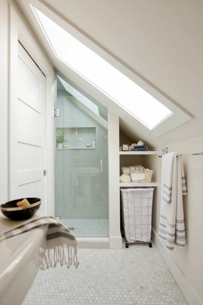 moderne bodenbeläge kleines bad mosaik bodenfliesen wabenmuster duschkabine