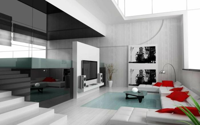 moderne bodenbelaege loft wohnung weisse couch rote kissen bogenlampe holzdielen wandverkleidung