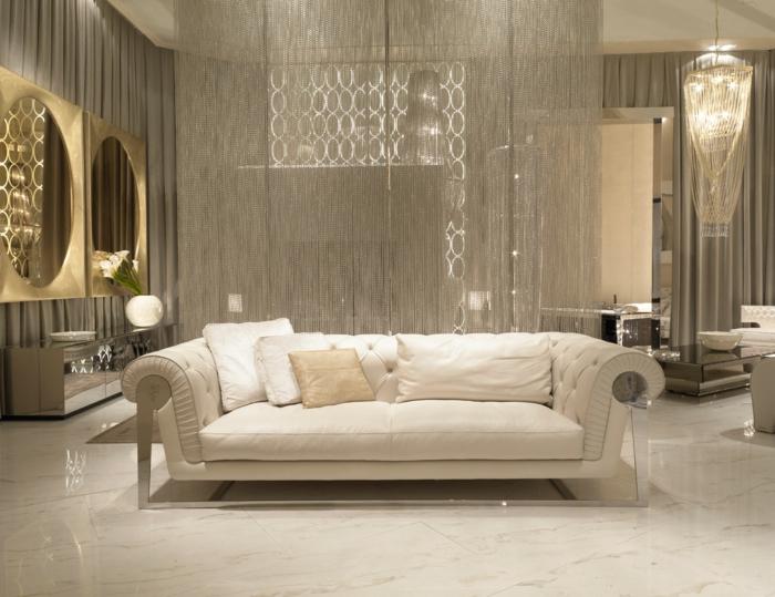 moderne bodenbeläge marmor weiß maserung luxus wohnungledersofa