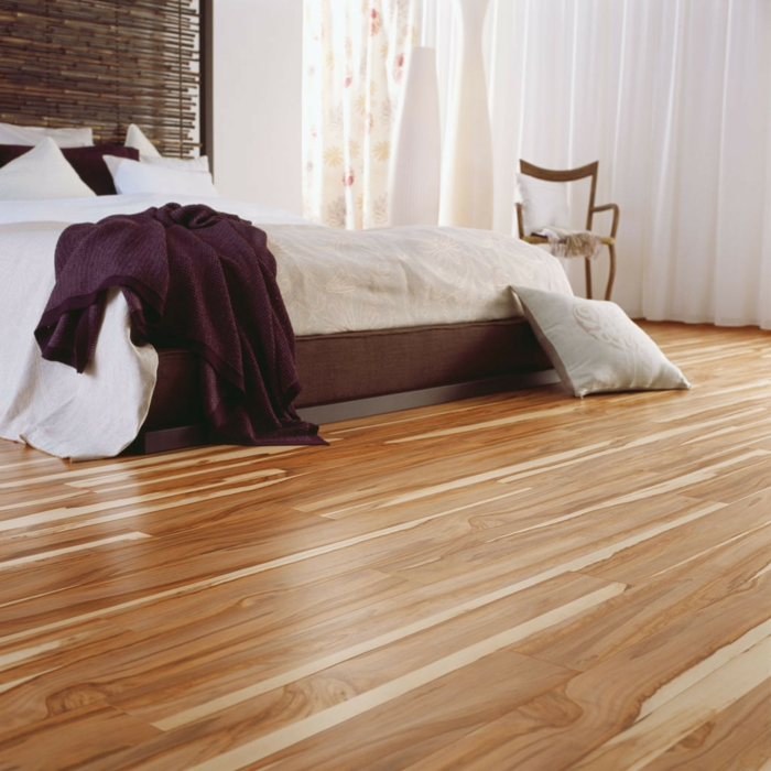 moderne bodenbeläge schlafzimmer holzboden naturlook akzentwand
