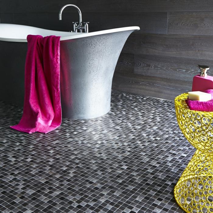 moderne bodenbeläge vinyl freistehnde badewanne gelber beistelltisch