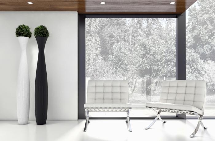 moderne bodenbeläg weiss barcelona sessel minimalistische einrichtung wohnzimmer blumenständer