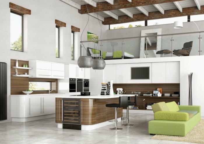 moderne bodenbeläge weiße bodenfliesen granit loft offene deckenbalken kücheninsel