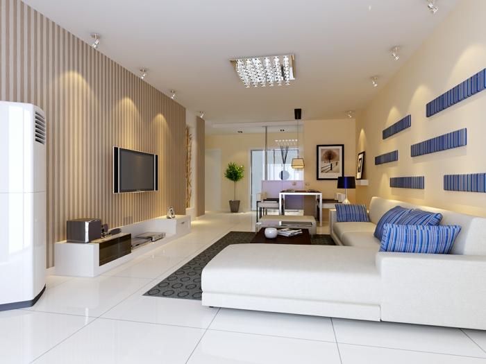 moderne bodenbeläge weiße glänzende bodenfliesen ledercouch dekokissen gestreift