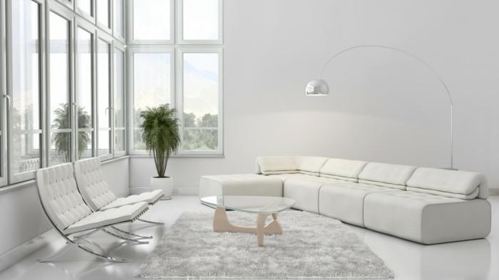 moderne bodenbeläge weißer boden wohnzimmer ledersofa bogenlampe chrome barcelona sessel