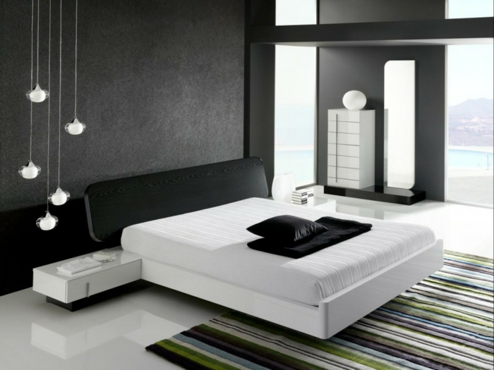 moderne bodenbeläge weißer bodenbalag gestreifter teppich schlafzimmer