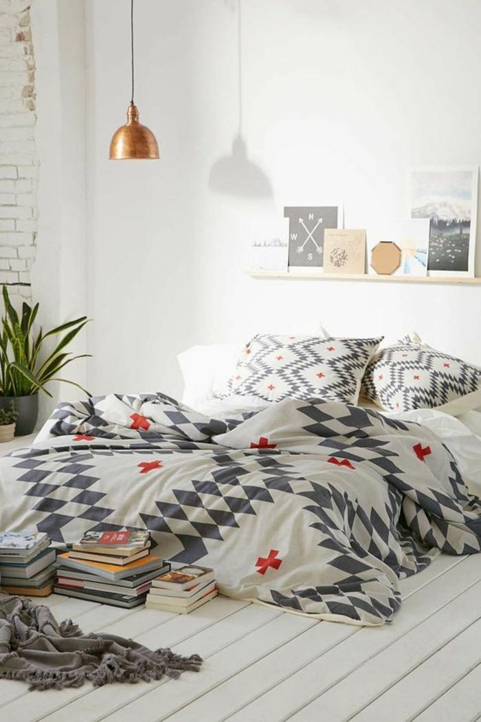 moderne bodenbeläge weisse holzdielen schlafzimmer geometrische muster bettwäsche