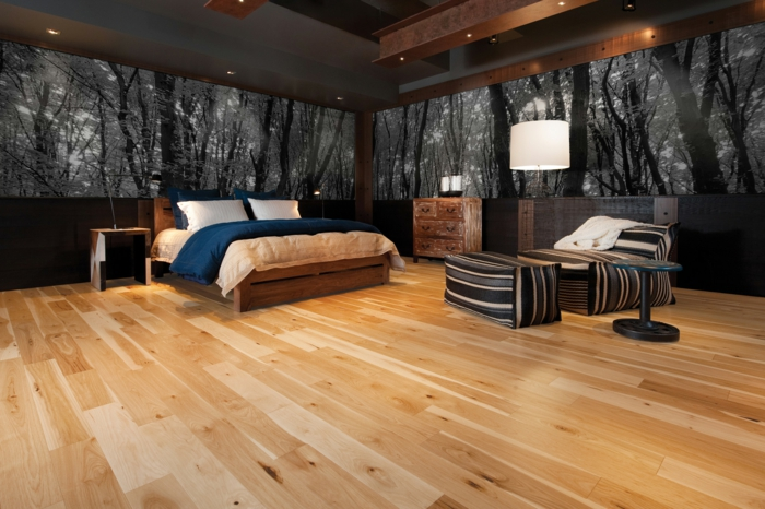 moderne bodenbeläge wohnideen schlafzimmer rustikale kommode akzentwand