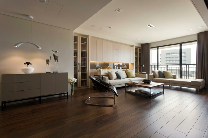 design bodenbelag - 55 moderne ideen, wie sie ihren boden verlegen ... - Wohnzimmer Ideen Dunkle Mobel