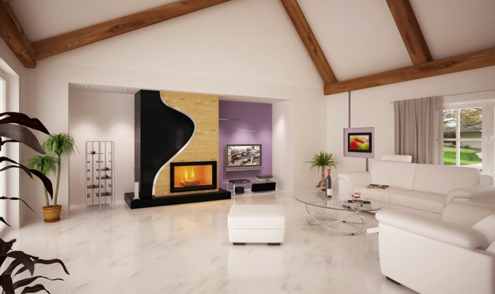 moderne bodenbeläge wohnzimmer weiße bodenfliesen marmoroptik gemasert wohnwand kamin offene deckenbalken