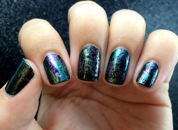 fingernägel design nailart abstrakt nachthimmel motive nagellack
