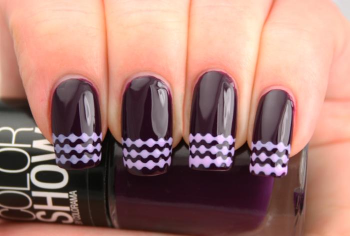 nageldesigns fingernägel design nailart aubergine farbe filigrane muster gelnägel