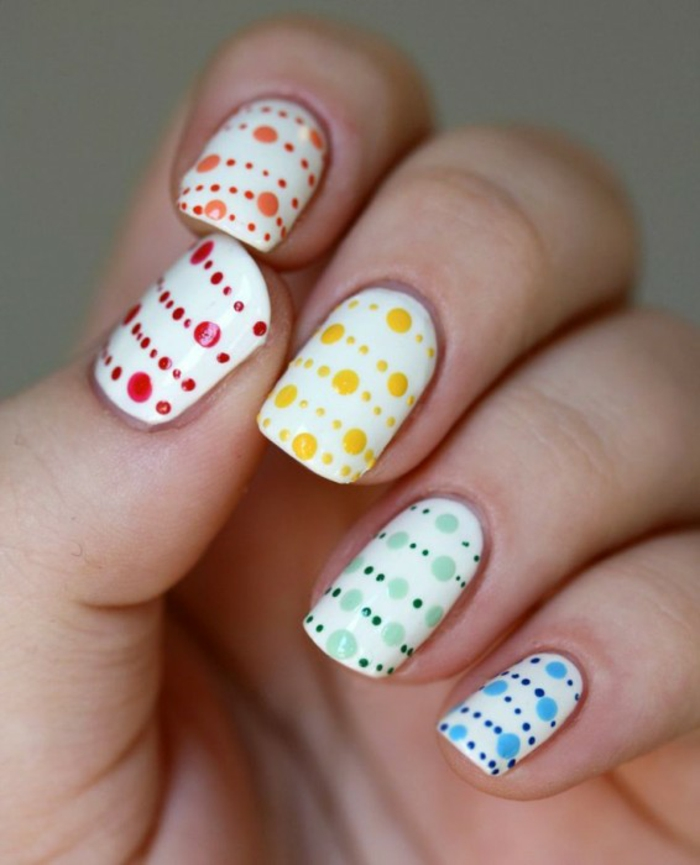 fingernägel design nailart bunte farben getupft nagellack
