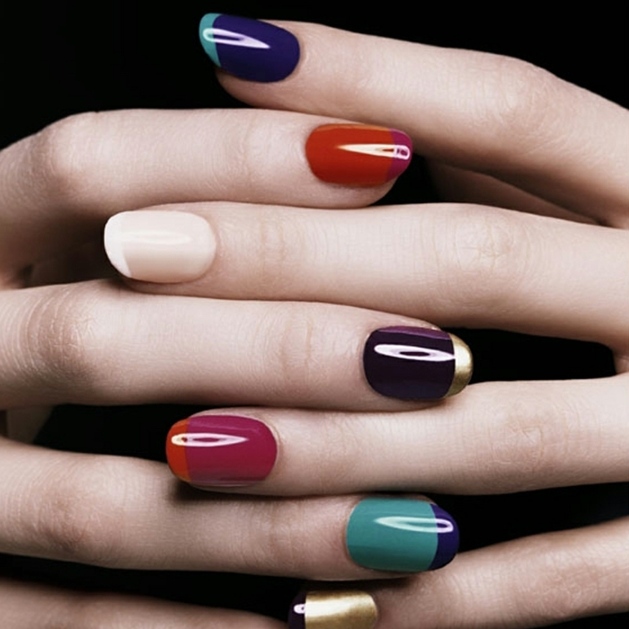 fingernägel design nailart bunte nägel gelnägel gold akzente