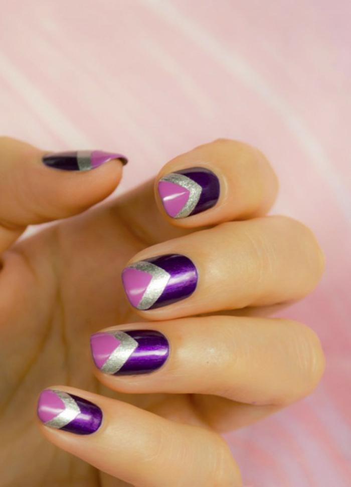 nageldesigns fingernägel nailart dreieck muster lila silber rosa nagellack
