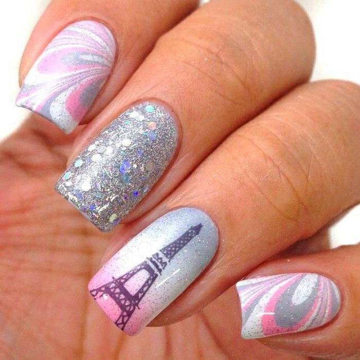 nageldesigns fingernägel design nailart eifelturm glitzernägel nagellack gelnägel