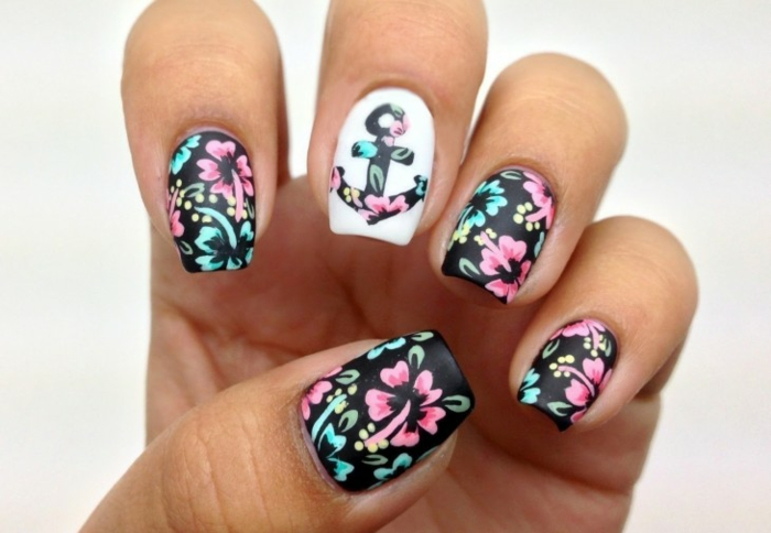 nageldesigns fingernägel design nailart gelnägel blumendesign anker