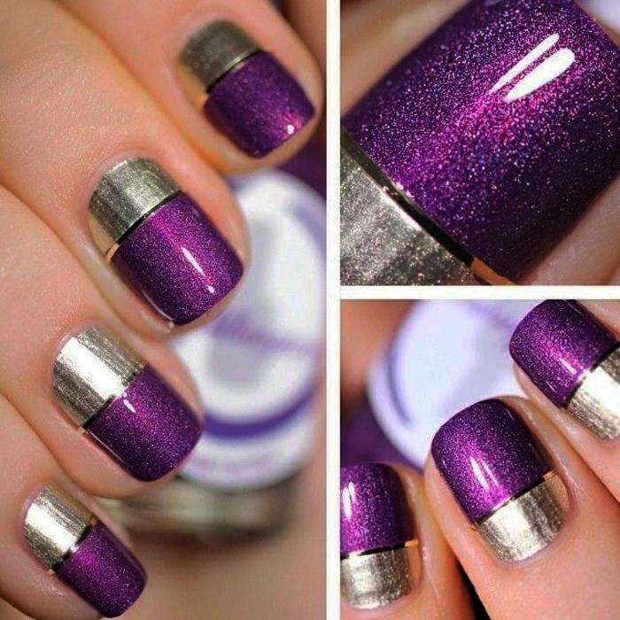 nageldesigns fingernägel design nailart gelnägel silber lila minimalistisch glänzend glitzer