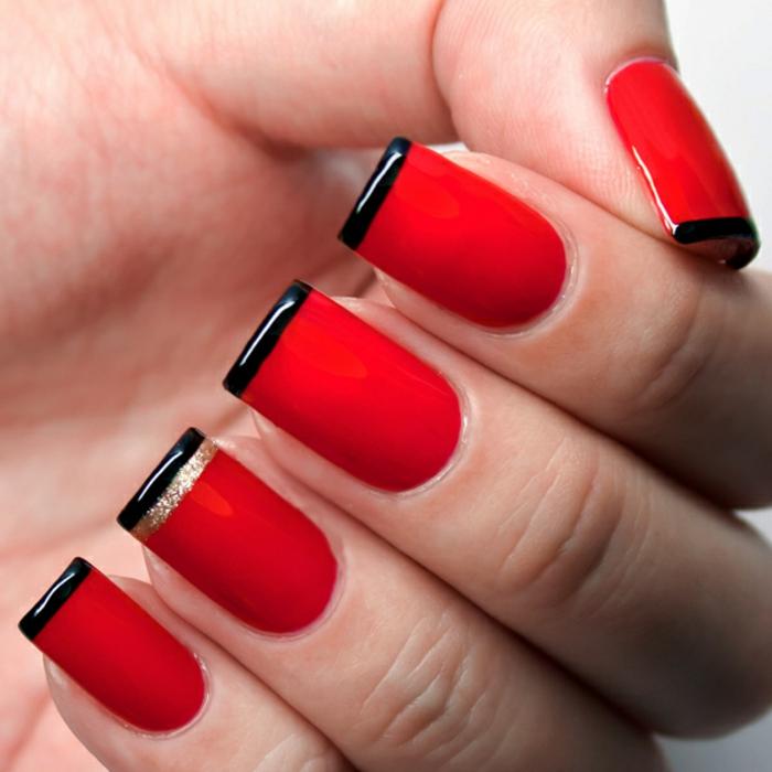 nageldesigns fingernägel design nailart knallrot schwarz gold glitzer gelnägel
