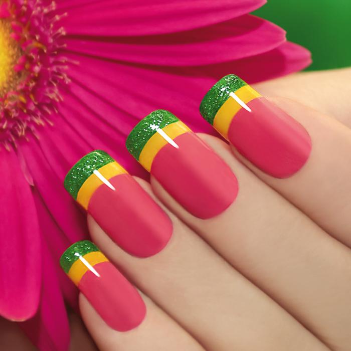 fingernägel design nailart lachs grün glitzer gelb farben gelnägel