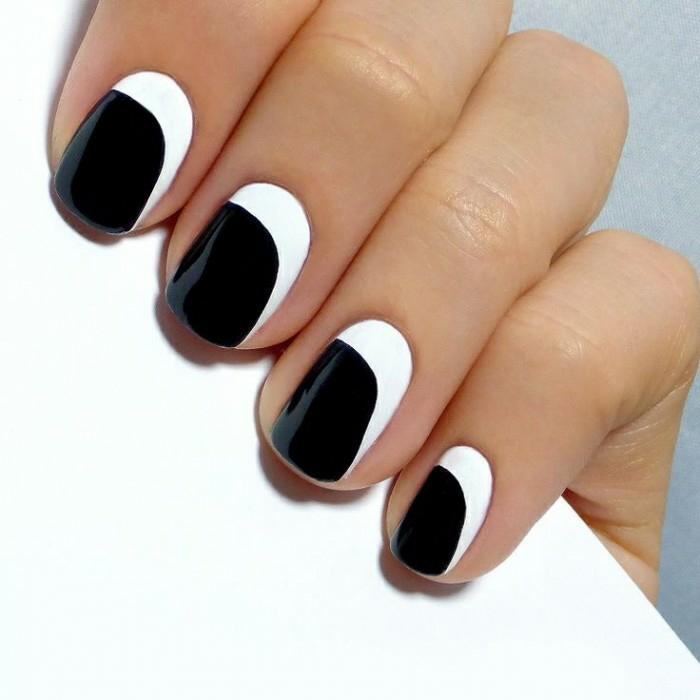 fingernägel design nailart minimalistisch schwarz weiß