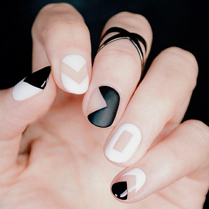 nageldesigns fingernägel design nailart nagellack geometrische muster schwarz weiß