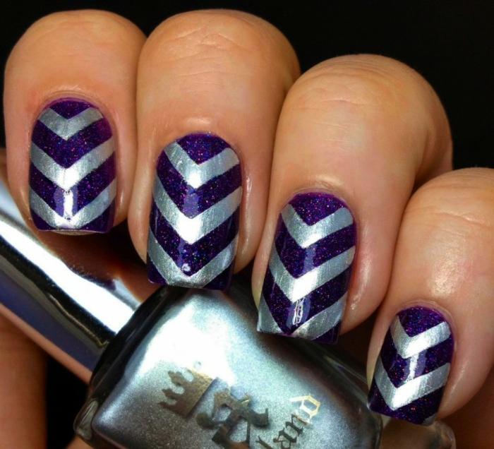 nageldesigns fingernägel design nailart nageltrends gelnägel lila silber chevron muster