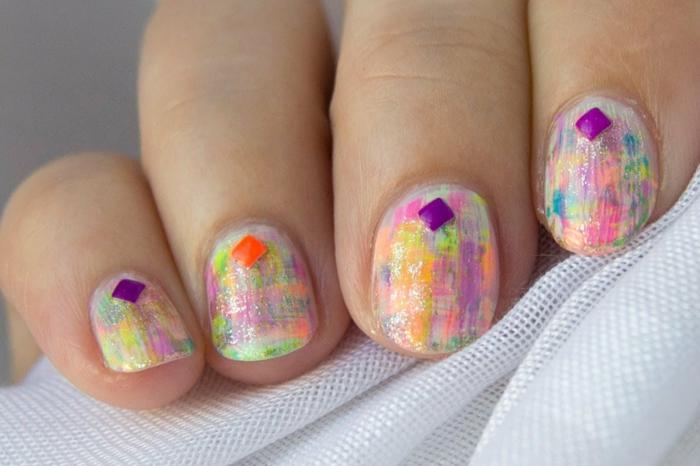 nageldesigns fingernägel design nailart neon farben abstrakt kurze nägel nagellack