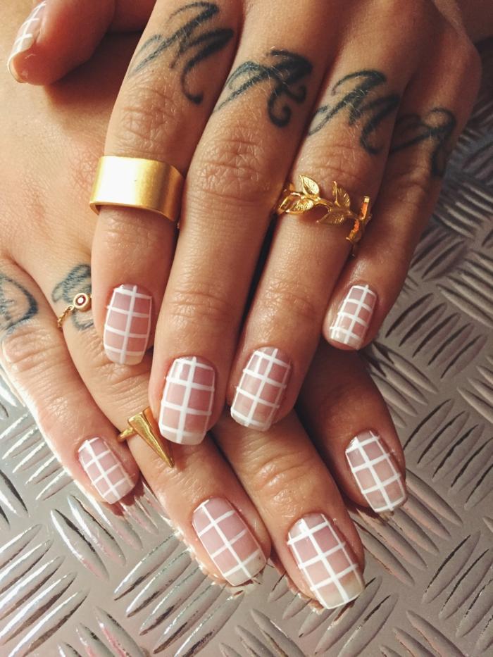 nageldesigns fingernägel design nailart netzdesign rosa weißhandtattoo