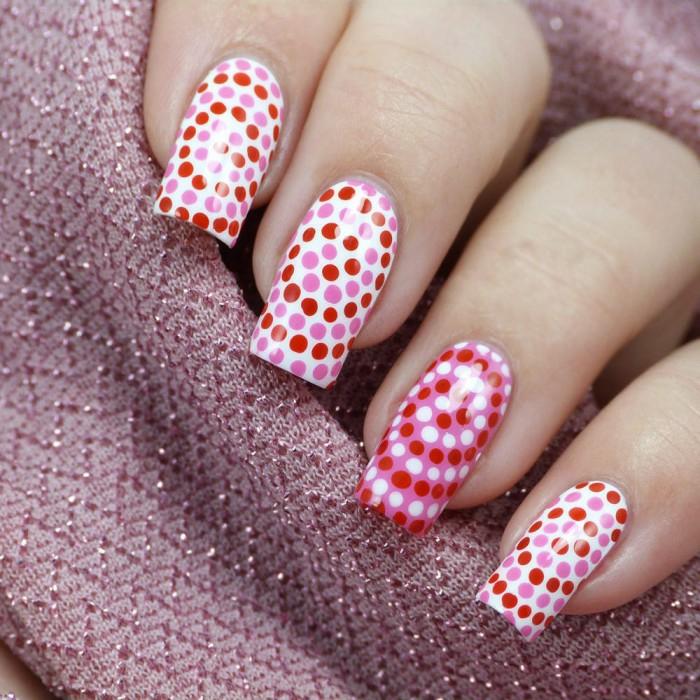 nageldesigns fingernägel design nailart punkte spirale rot weiß rosa