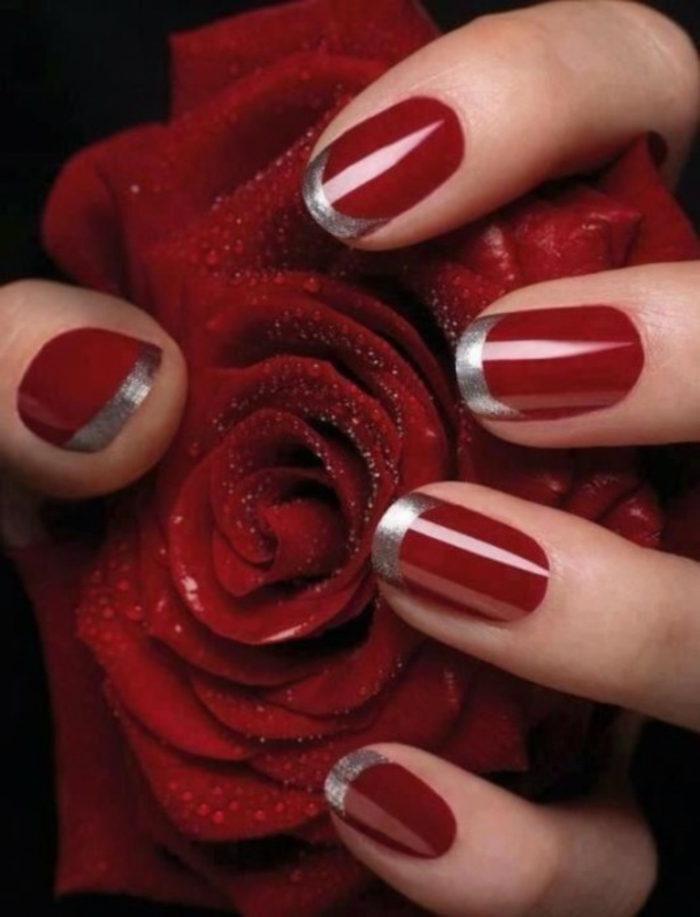 nageldesigns fingernägel design nailart rote nägel nagellack silber rose
