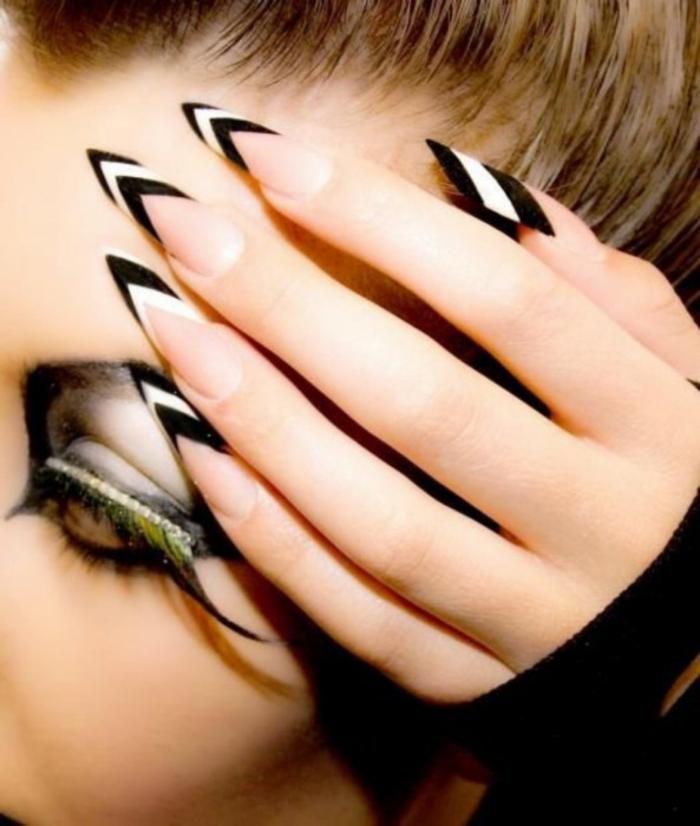 nageldesigns fingernägel design nailart spitze nägel nailart schwarz weiß streifen