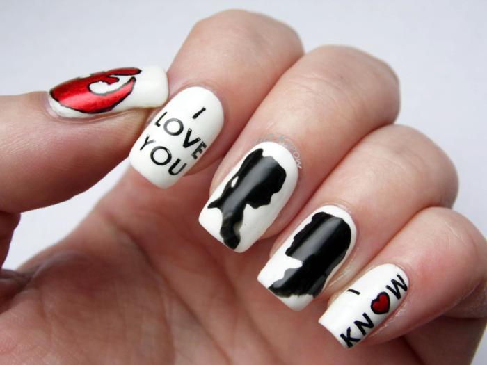 nageldesigns fingernägel design valentinstag motive liebe gelnägel
